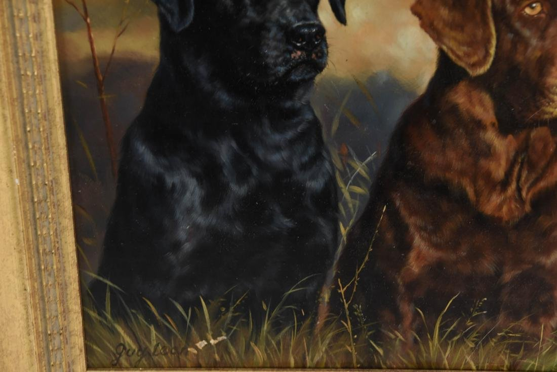 GUY LEON OIL ON BOARD OF DOGS - 4