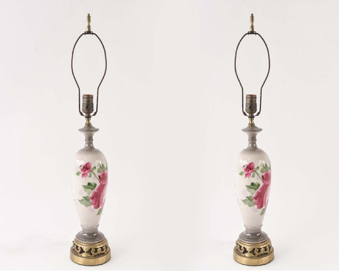 PAIR OF CERAMIC FLOWER LAMPS