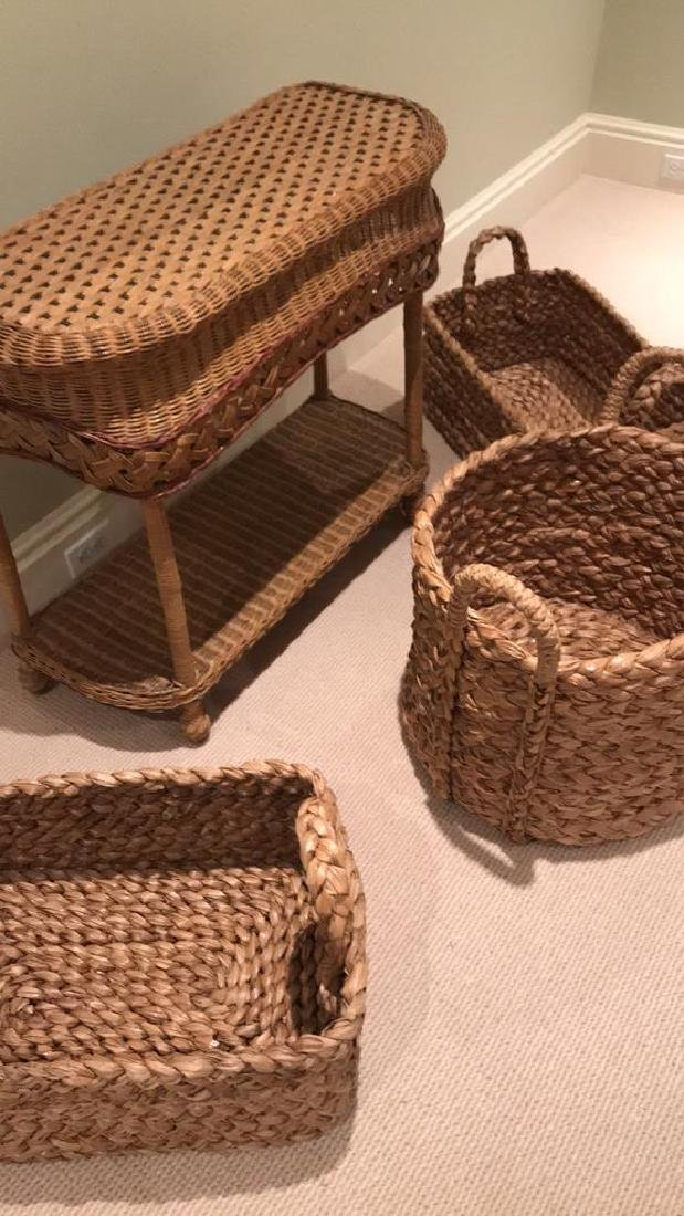 WICKER AND WOVEN BASKET ETC. GROUPING - 3