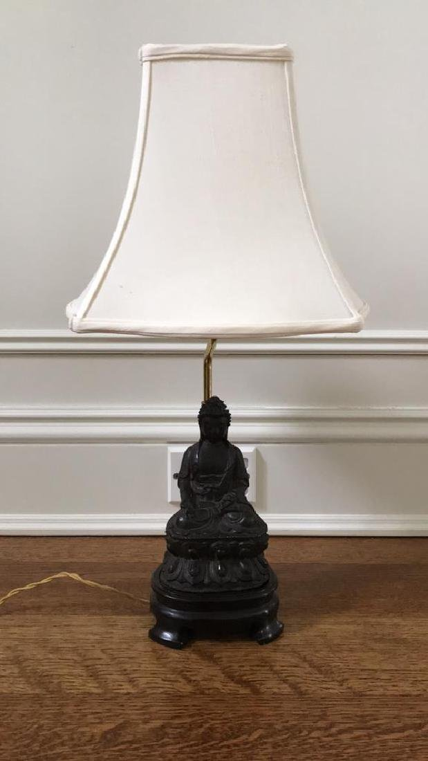 LAMP WITH CAST BUDDHA - 2