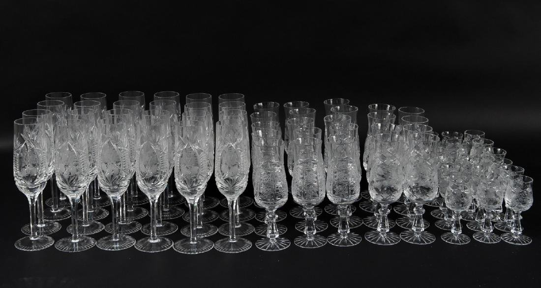 GROUPING OF CUT CRYSTAL STEMWARE
