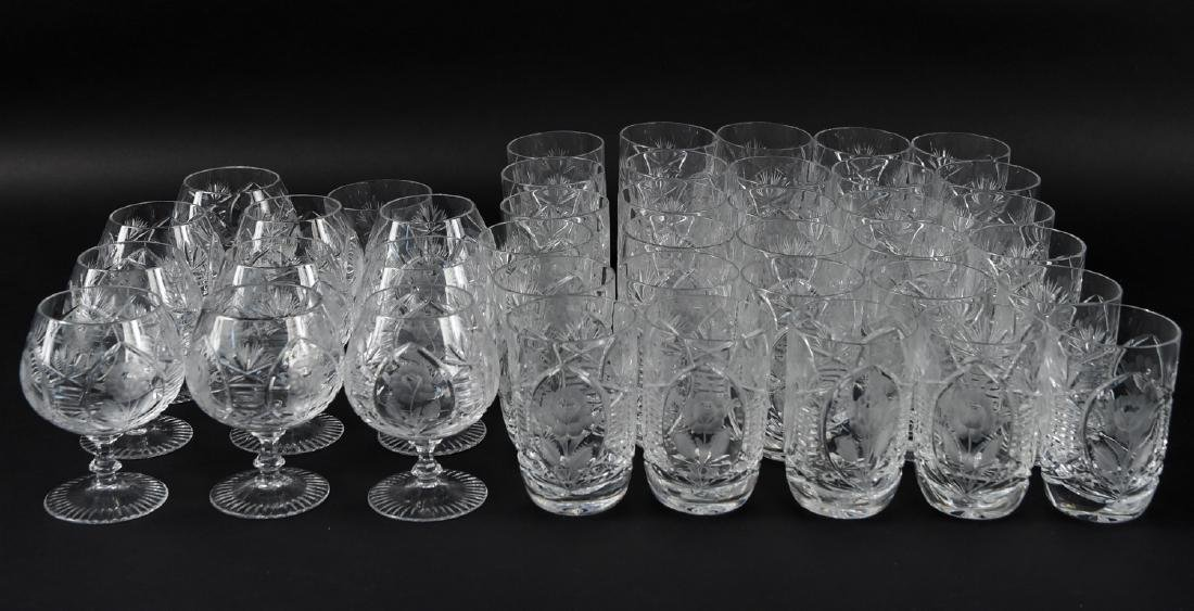 GROUPING OF CUT CRYSTAL GLASSES