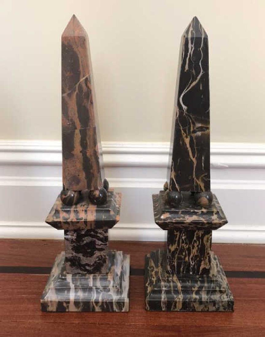 PAIR OF MARBLE OBELISKS ON PILLARS
