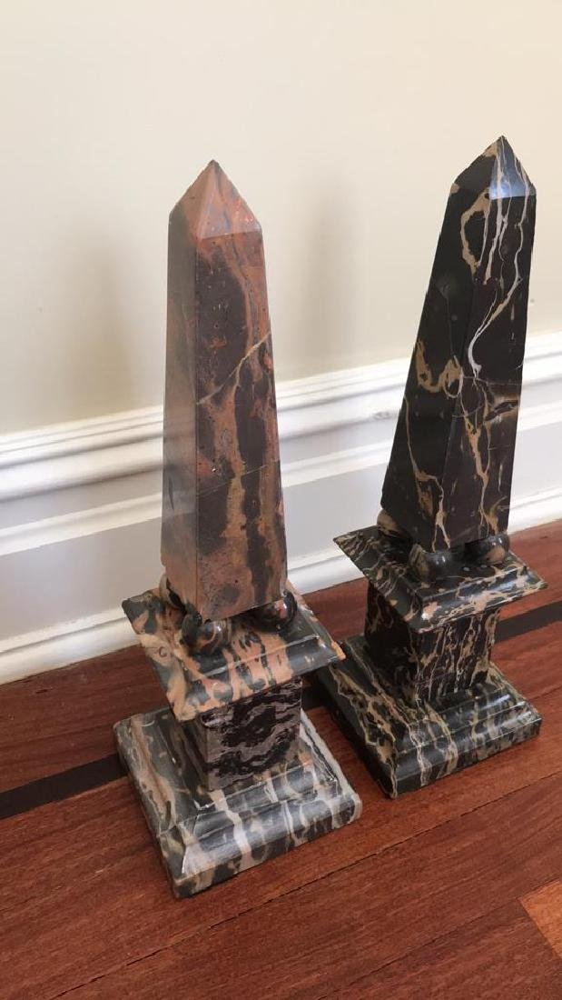 PAIR OF MARBLE OBELISKS ON PILLARS - 2