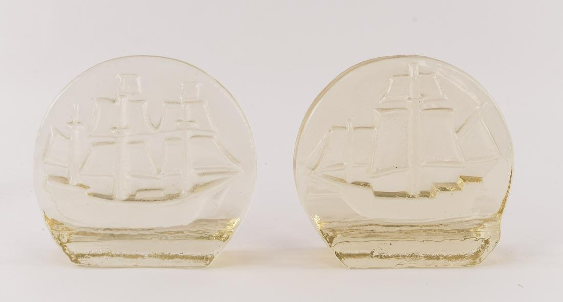 BLENKO GLASS SAILBOAT BOOKENDS