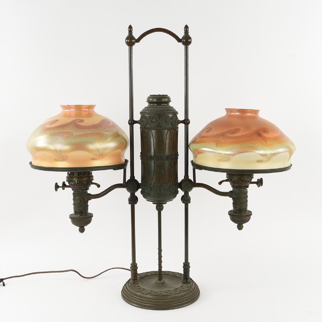 TIFFANY STUDIOS BRONZE DOUBLE STUDENT LAMP