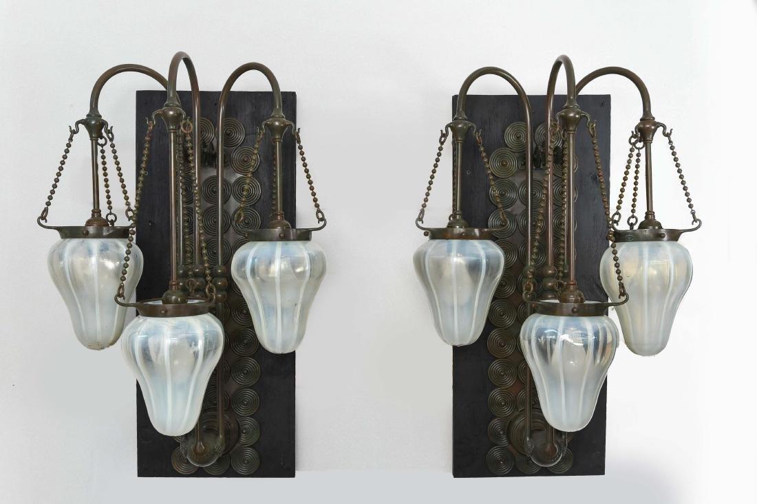PR. OF TIFFANY STUDIOS TRIPLE LIGHT BRONZE SCONCES