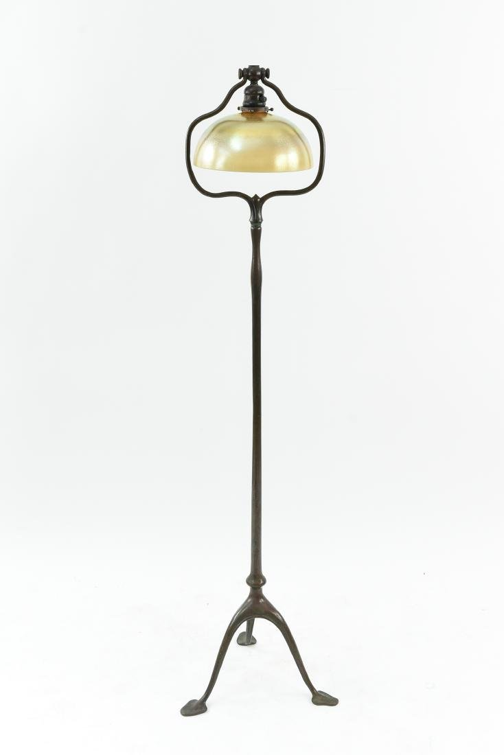 "TIFFANY STUDIOS BRONZE ""HARP"" FLOOR LAMP W/ SHADE"