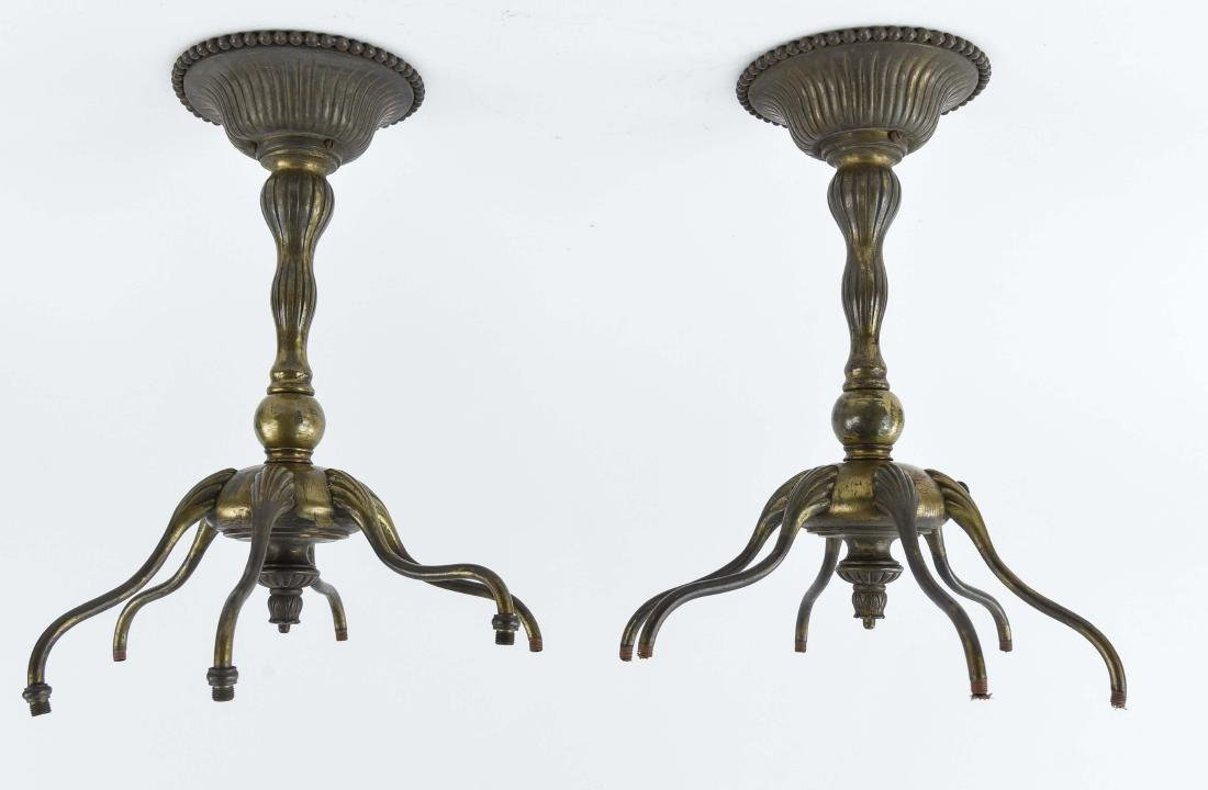 PAIR OF TIFFANY STUDIOS BRONZE 6-ARM LAMPS
