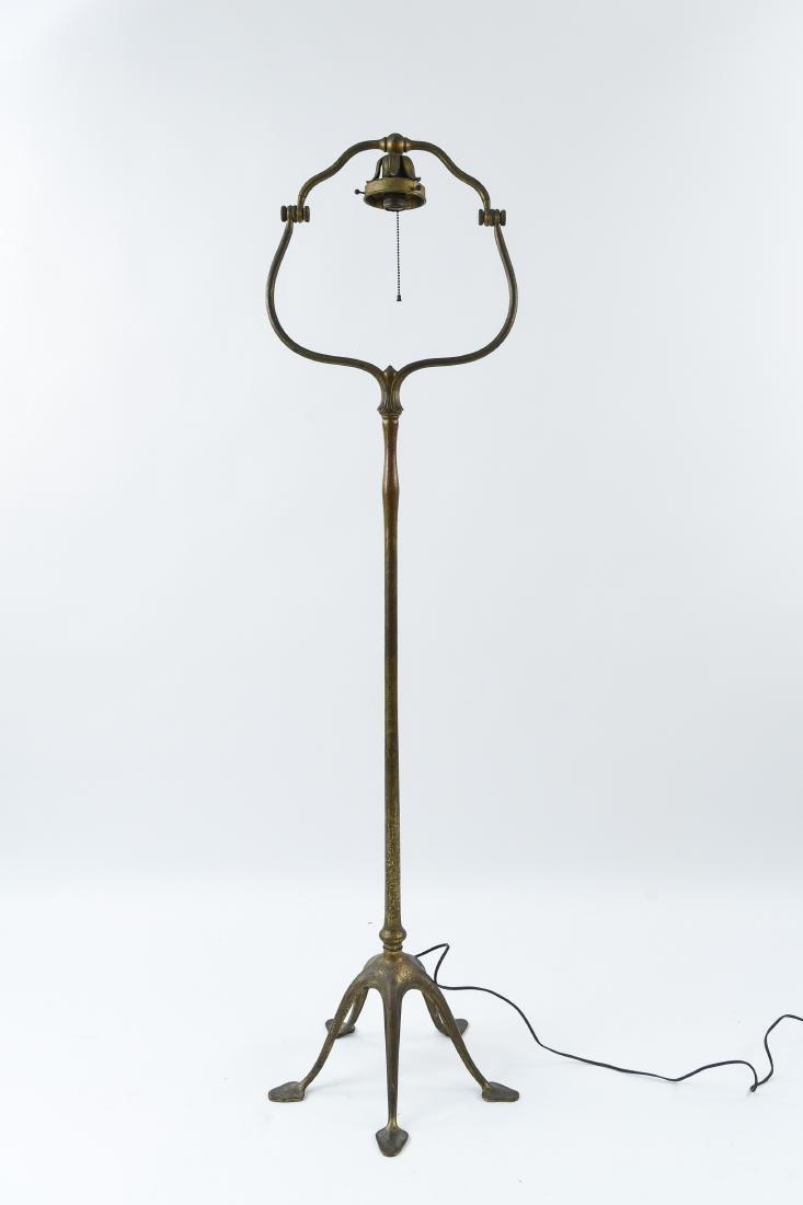 """TIFFANY STUDIOS BRONZE """"HARP"""" FLOOR LAMP"""