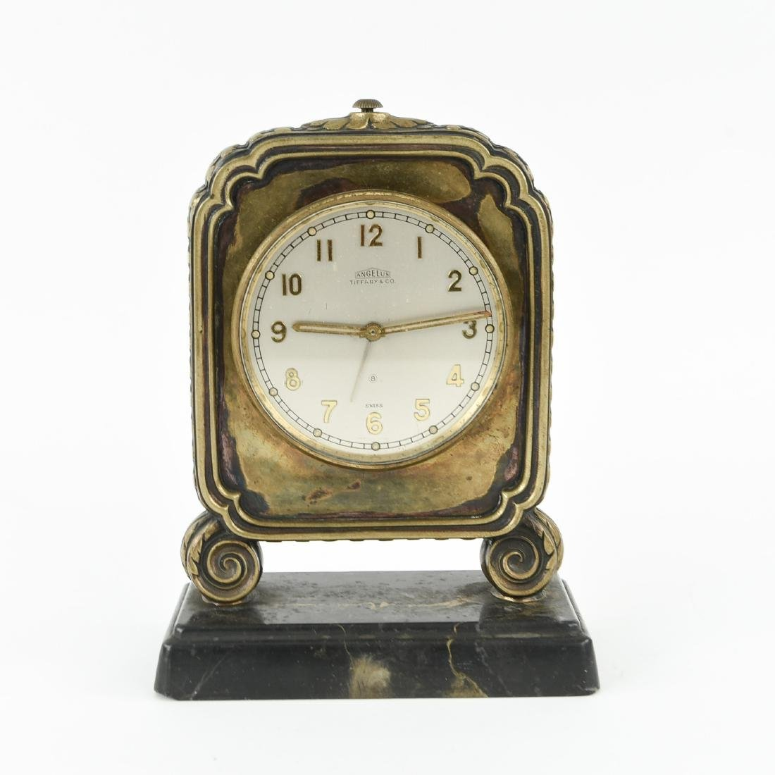 TIFFANY & CO. ANGELUS SWISS MARBLE BASE DESK CLOCK