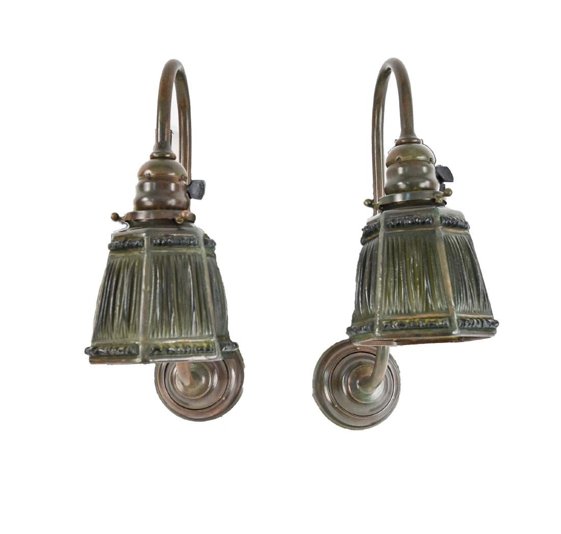 PAIR OF TIFFANY STUDIOS LINEN FOLD SCONCES