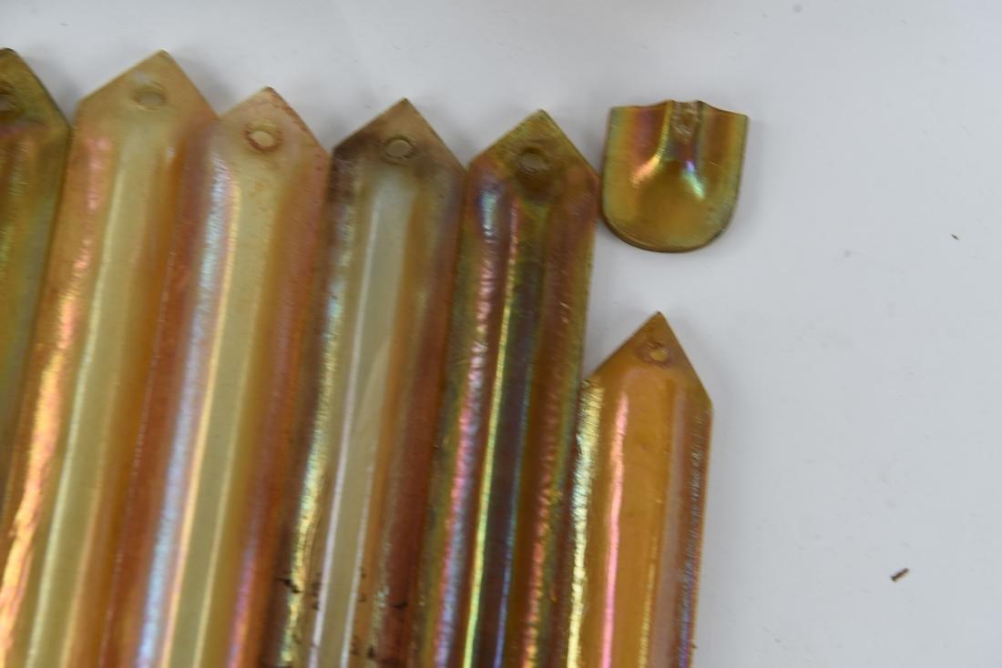 ATTR. TIFFANY GOLD AURENE GLASS CHANDELIER PRISMS - 5