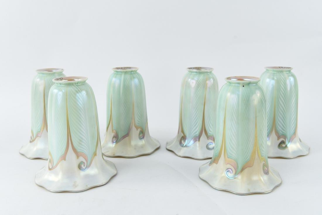 (6) QUEZAL ART GLASS SHADES