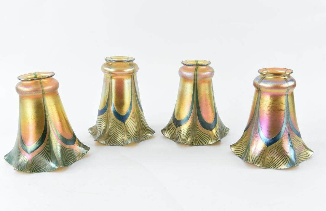 (4) STEUBEN ART GLASS SHADES
