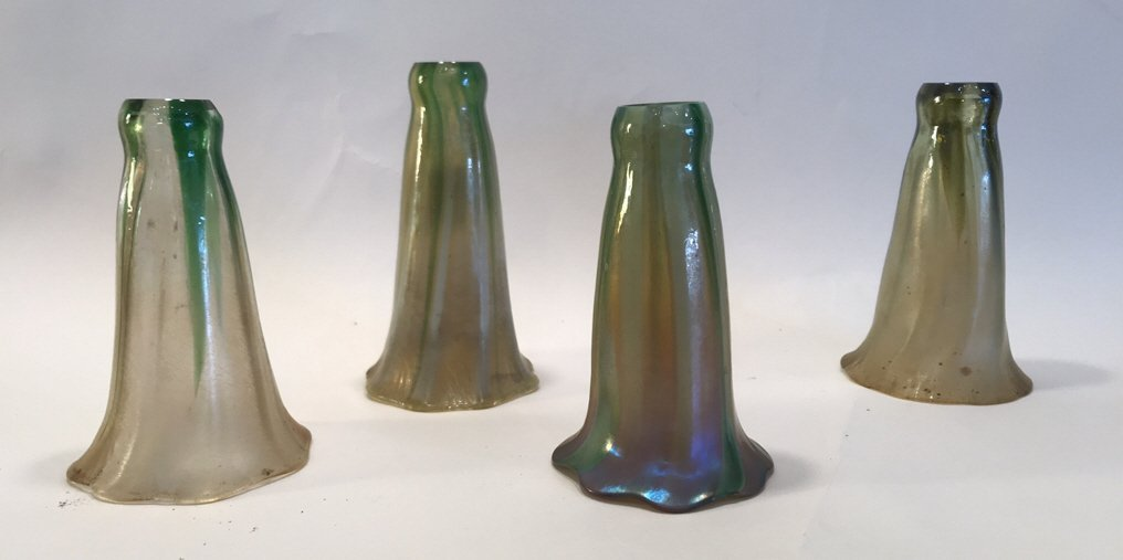 (4) ATTR TIFFANY STUDIOS GLASS LILY SHADES