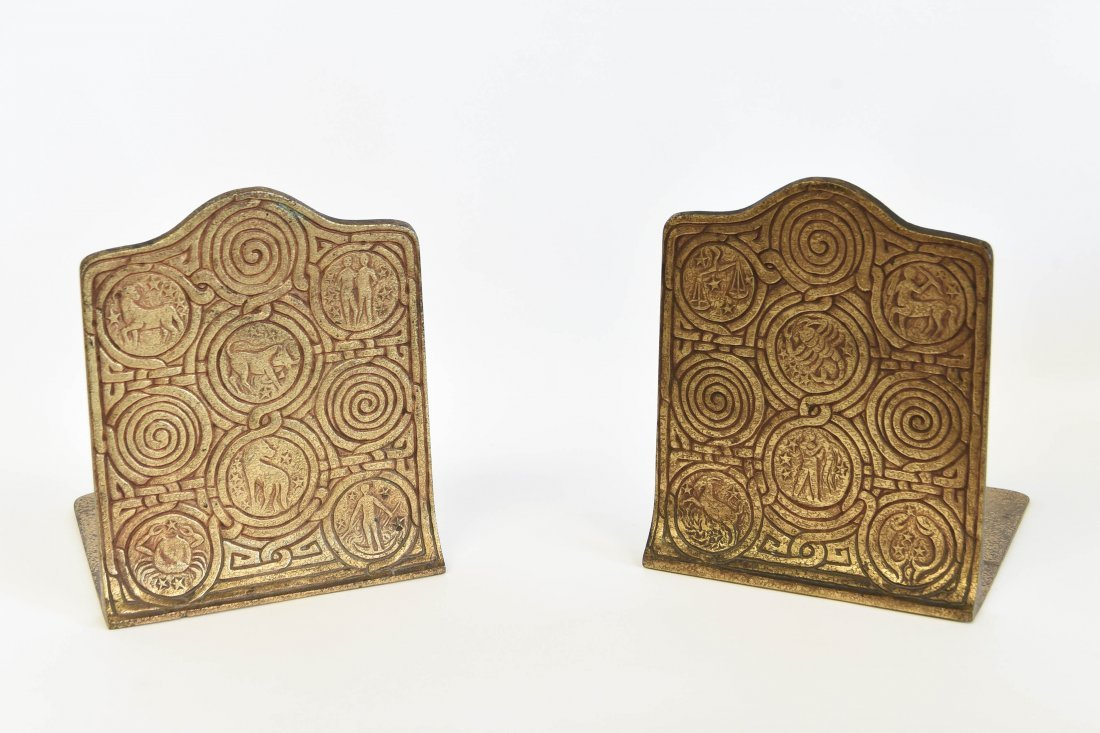 TIFFANY STUDIOS SIGNED ZODIAC BOOKENDS