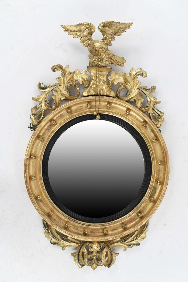 19TH C. REGENCY / FEDERAL GILT CONVEX EAGLE MIRROR