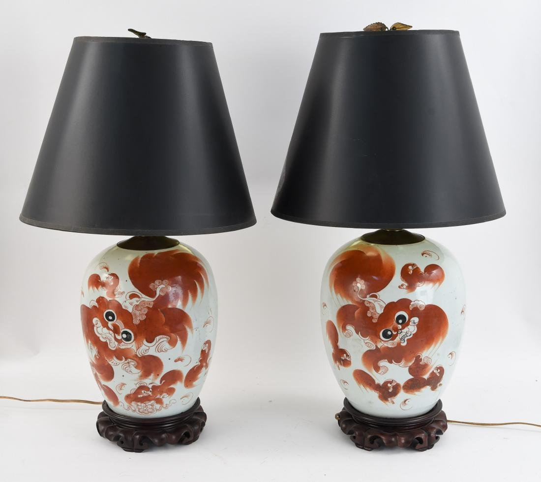 19TH C. CHINESE CERAMIC FOO DOG GINGER JAR LAMPS