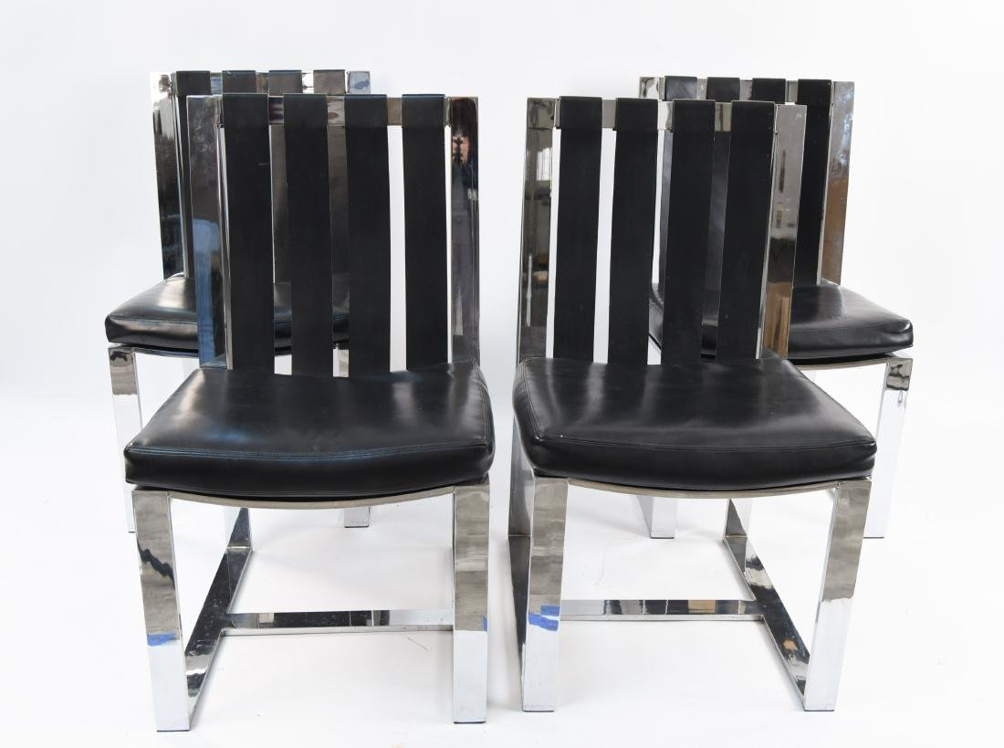 MILO BAUGHMAN, THAYER COGGIN CHROME LEATHER CHAIRS