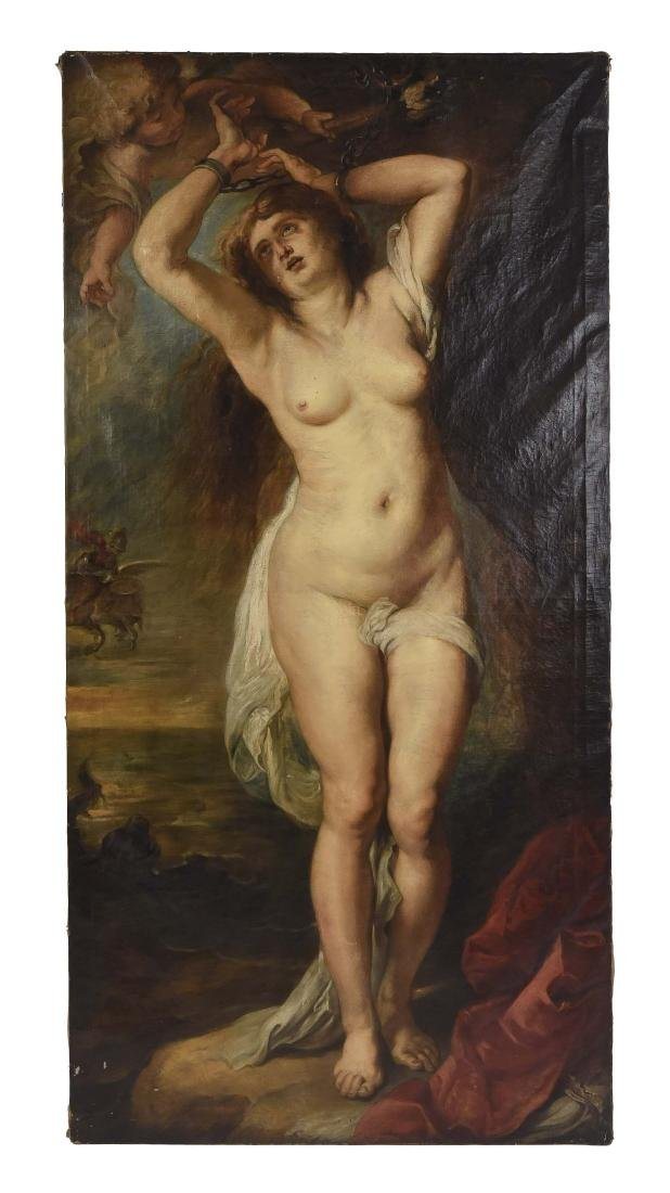 19TH CENTURY O/C RENDITION OF RUBENS ANDROMEDA