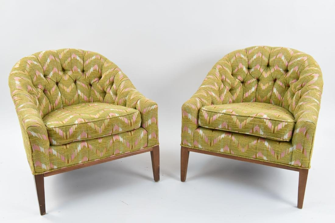 MID-CENTURY TUFTED LOUNGE CHAIRS C. 1970'S