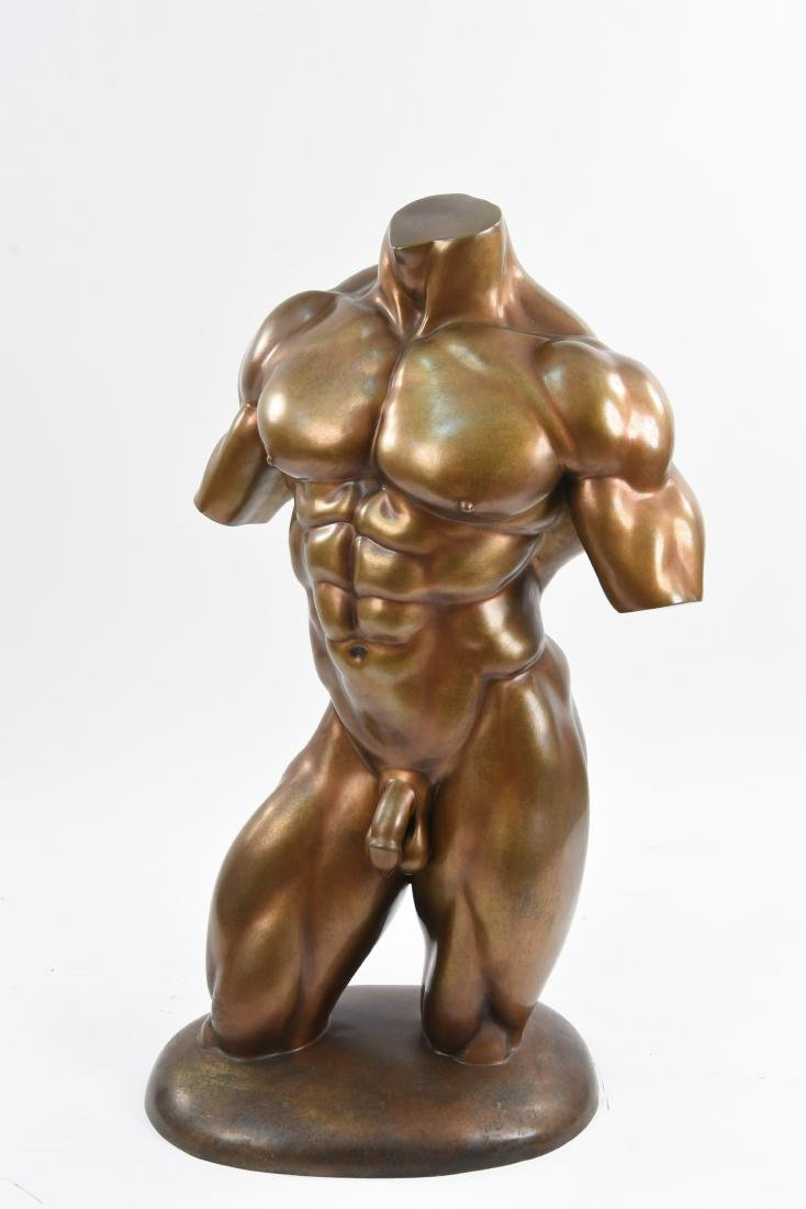 20TH CENTURY BRONZE MALE NUDE PHYSIQUE SCULPTURE