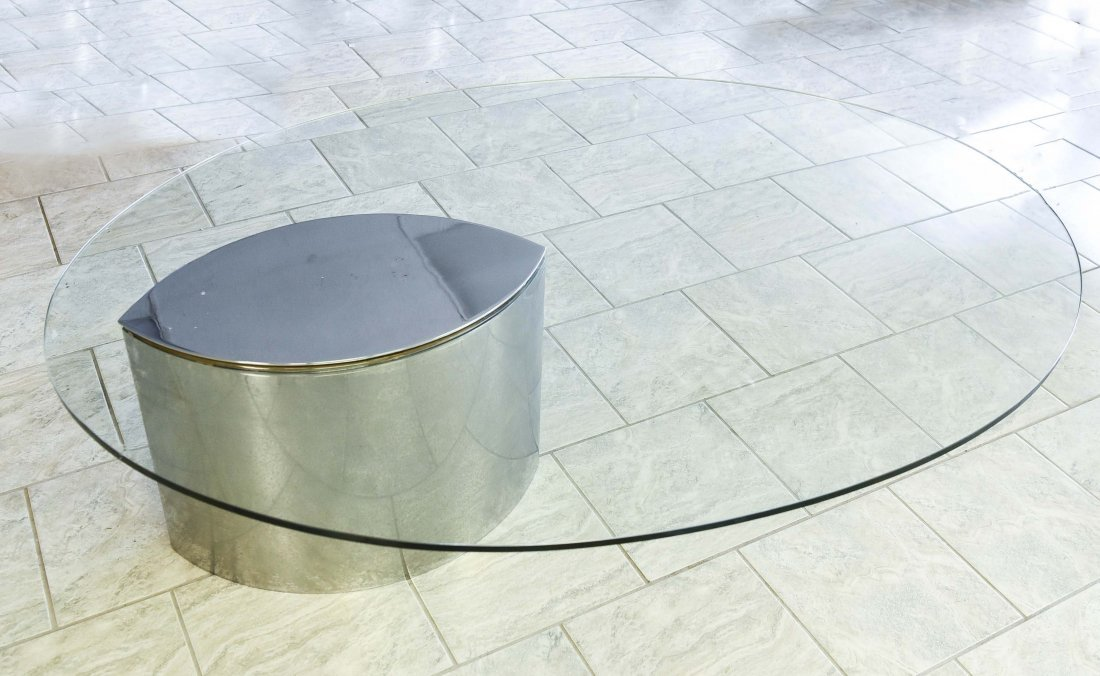 MODERN CHROME & GLASS TOP COFFEE TABLE