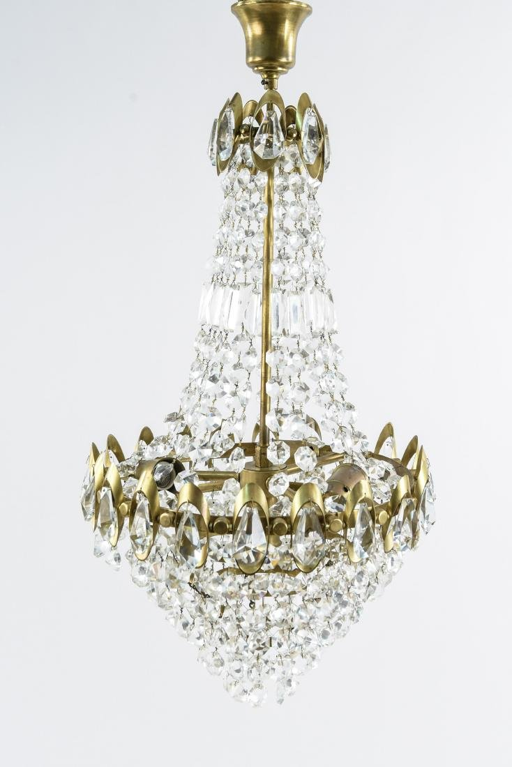 MID-CENTURY BRASS & DROP CRYSTAL CHANDELIER