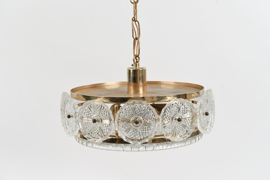 DANISH CRYSTAL & BRASS CHANDELIER BY ORREFORS