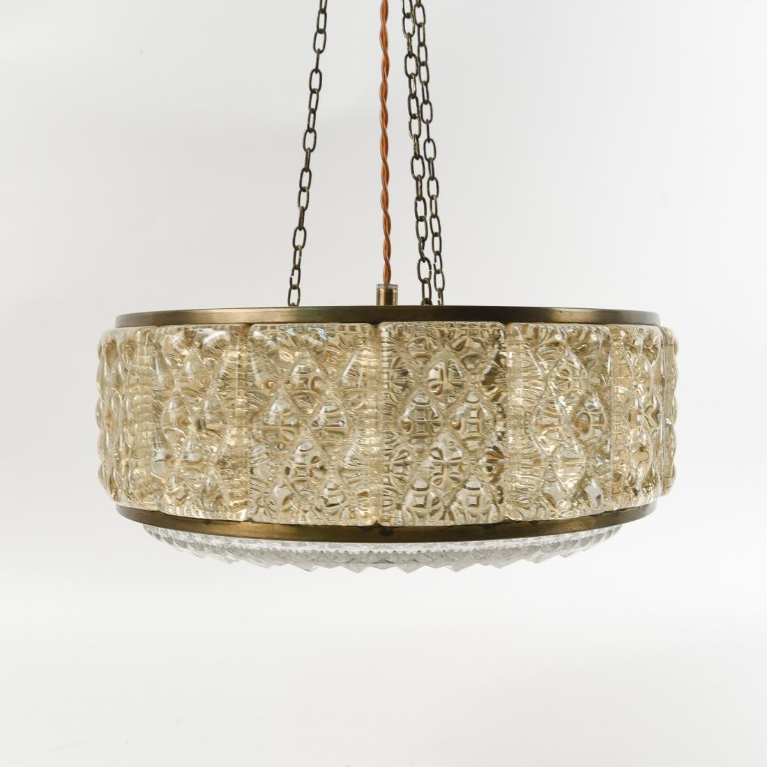 CRYSTAL AND BRASS CHANDELIER BY ORREFORS