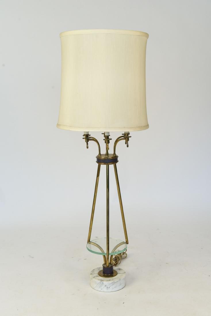 MID CENTURY MODERN MARBLE & BRASS TABLE LAMP