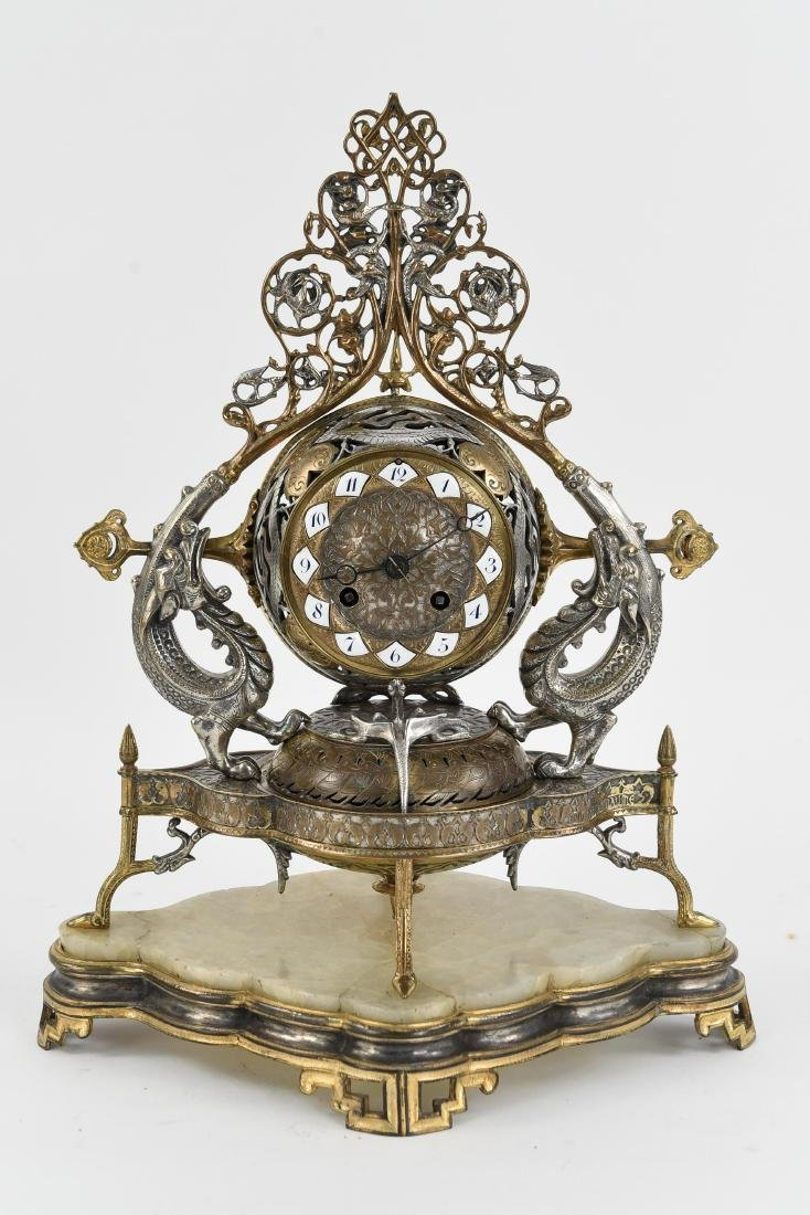 NAPOLEON III FRENCH GILT BRONZE MANTLE CLOCK