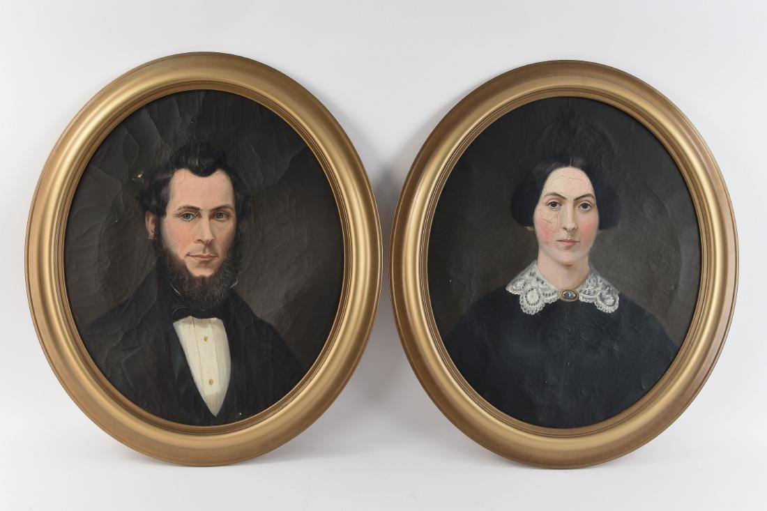 19TH C. AMERICAN SCHOOL CONNECTICUT PORTRAITS