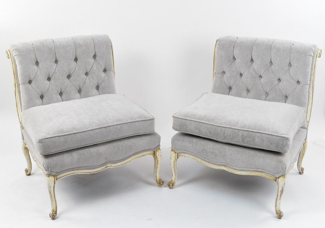PAIR OF 1920'S BUTTON TUFTED SLIPPER CHAIRS