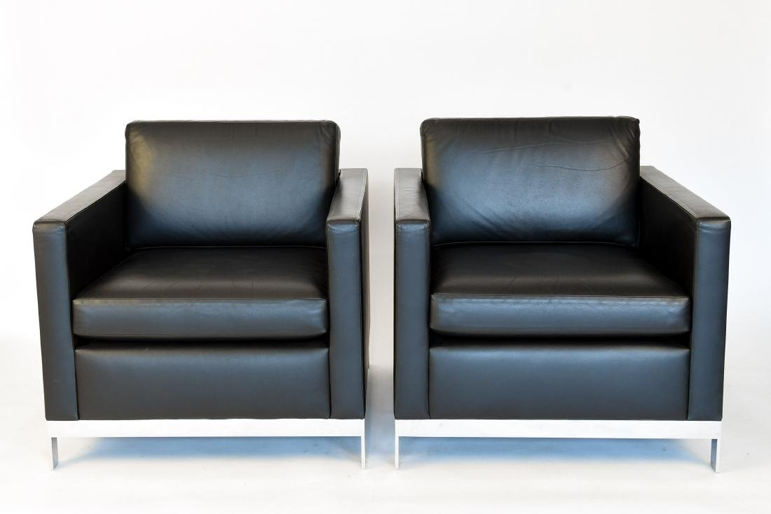 PAIR OF MARTIN / BRATTRUD LEATHER CLUB CHAIRS