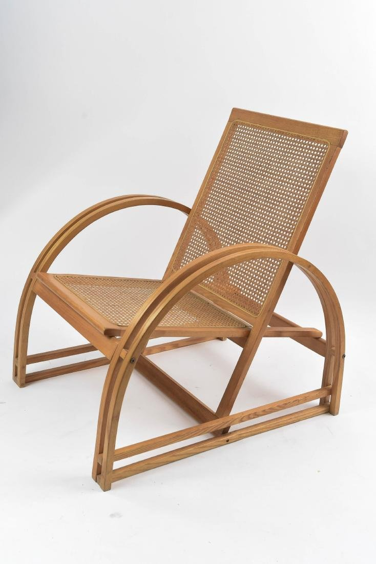 ART DECO STREAMLINE BENTWOOD CANED LOUNGE CHAIR