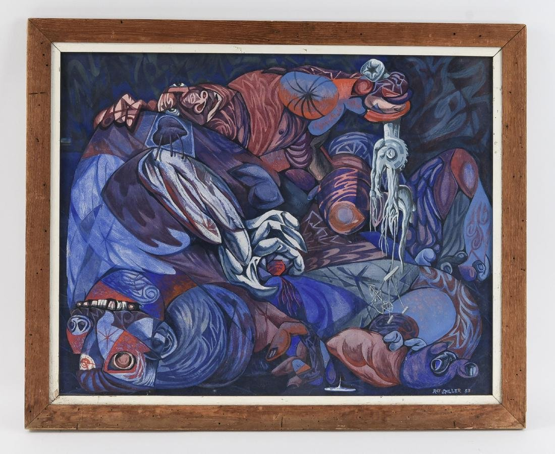 RAY SPILLER PA 20TH C. SURREALIST COMPOSITION