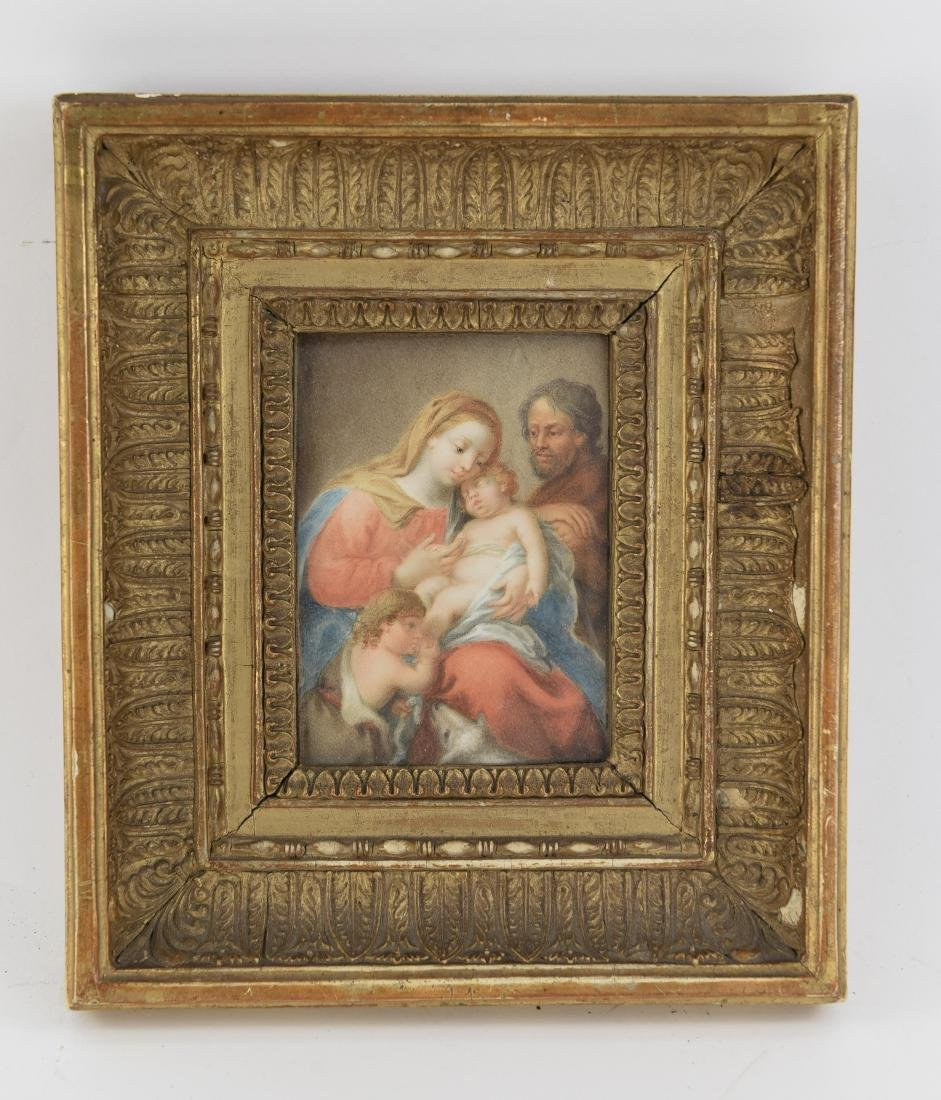 18/19TH C. MINIATURE WATERCOLOR MADONNA AND CHILD
