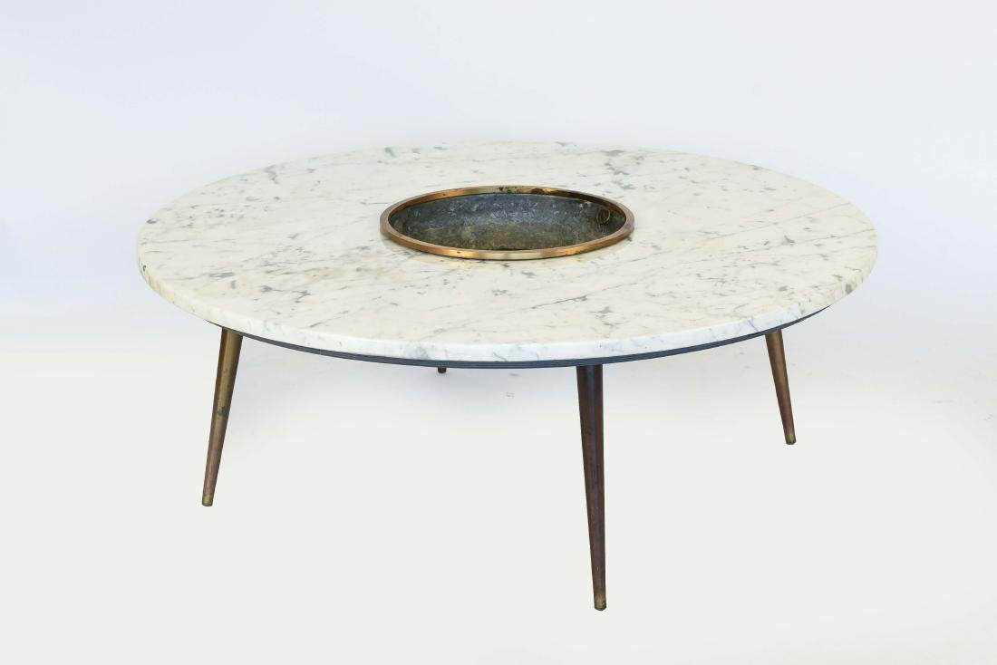 ITALIAN MARBLE TOP COFFEE TABLE W/ PLANTER