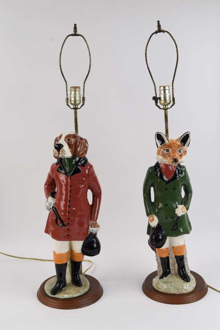 PAIR OF FOX AND HOUND PORCELAIN LAMPS