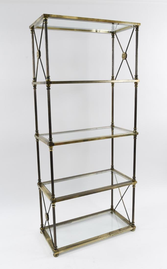 NEOCLASSICAL STYLE IRON AND GLASS ETAGERE