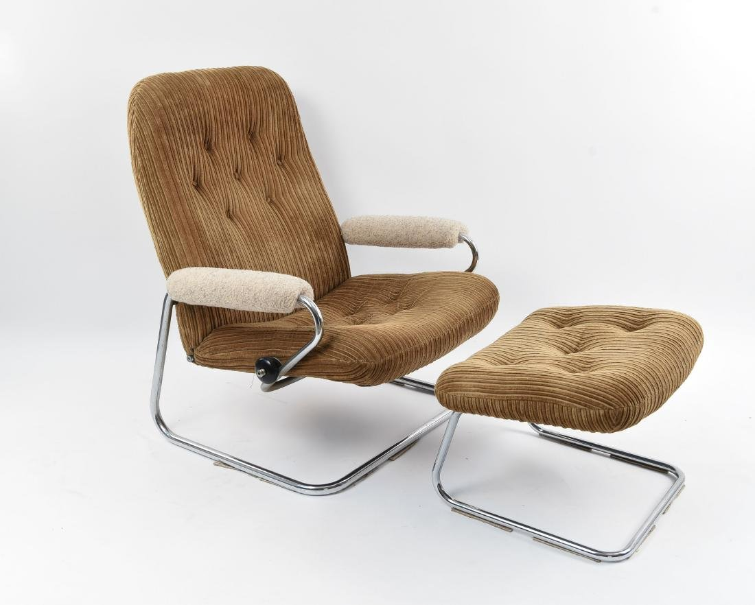 NORWEGIAN CANTILEVER LOUNGE CHAIR AND OTTOMAN