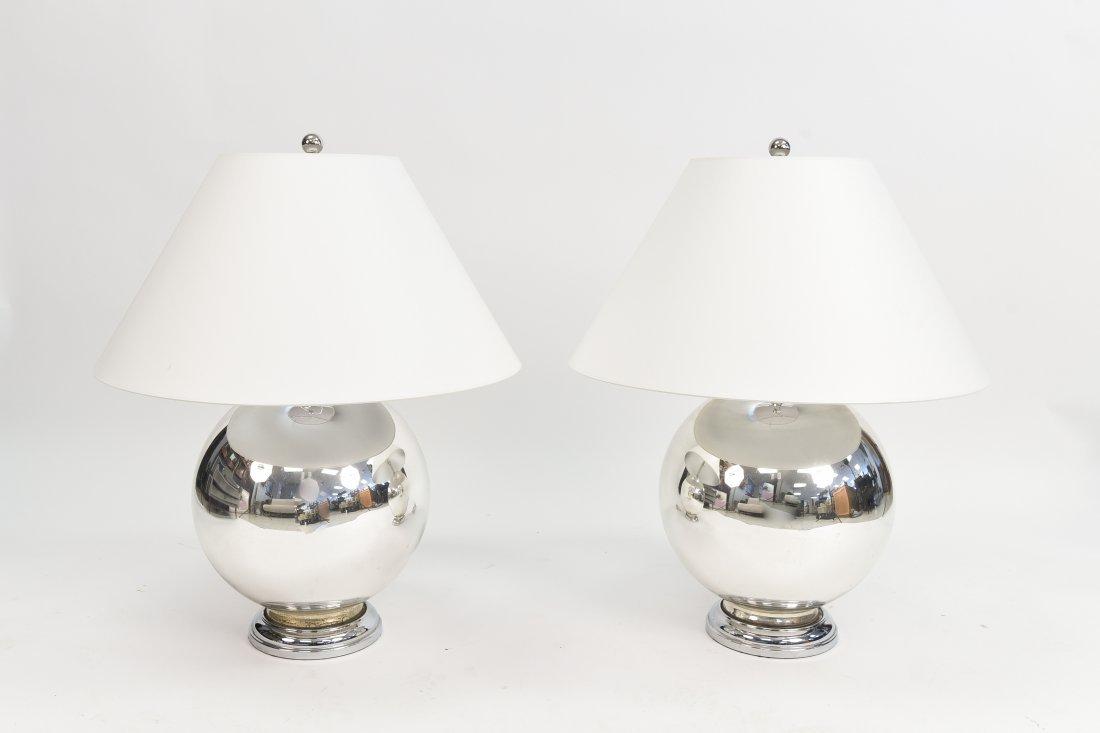 PAIR OF MERCURY GLASS GLOBE LAMPS