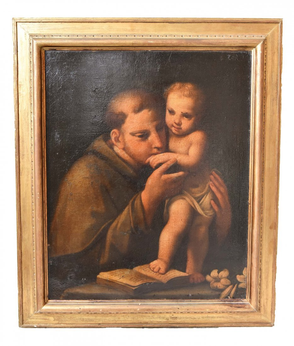 CONTINENTAL SCHOOL PAINTING OF SAINT ANTHONY OF PADUA