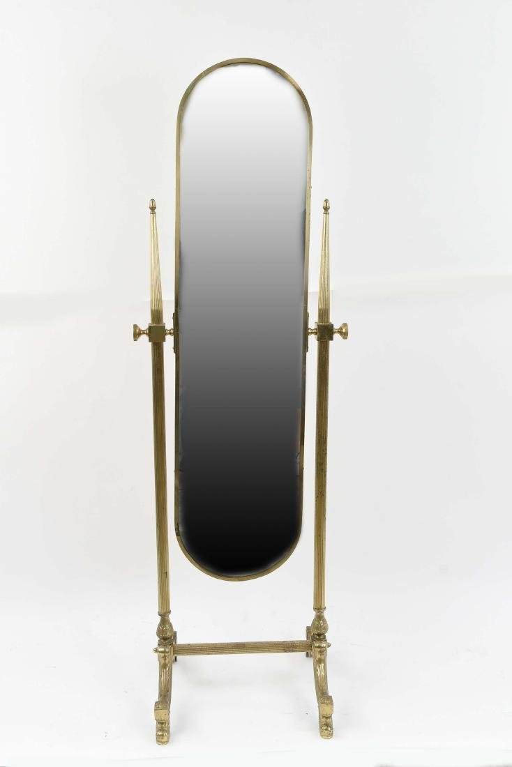 CLASSICAL STYLE BRASS CHEVAL MIRROR