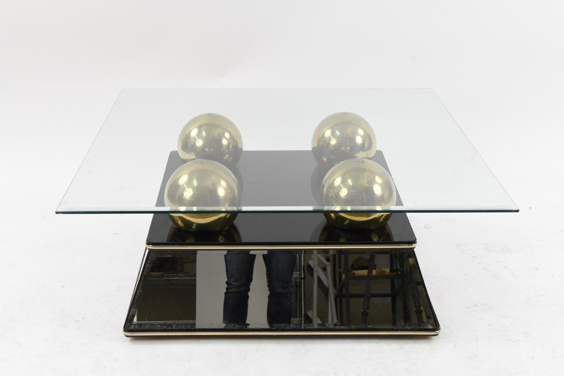 MIRRORED BRASS SPHERE GLASS TOP COFFEE TABLE