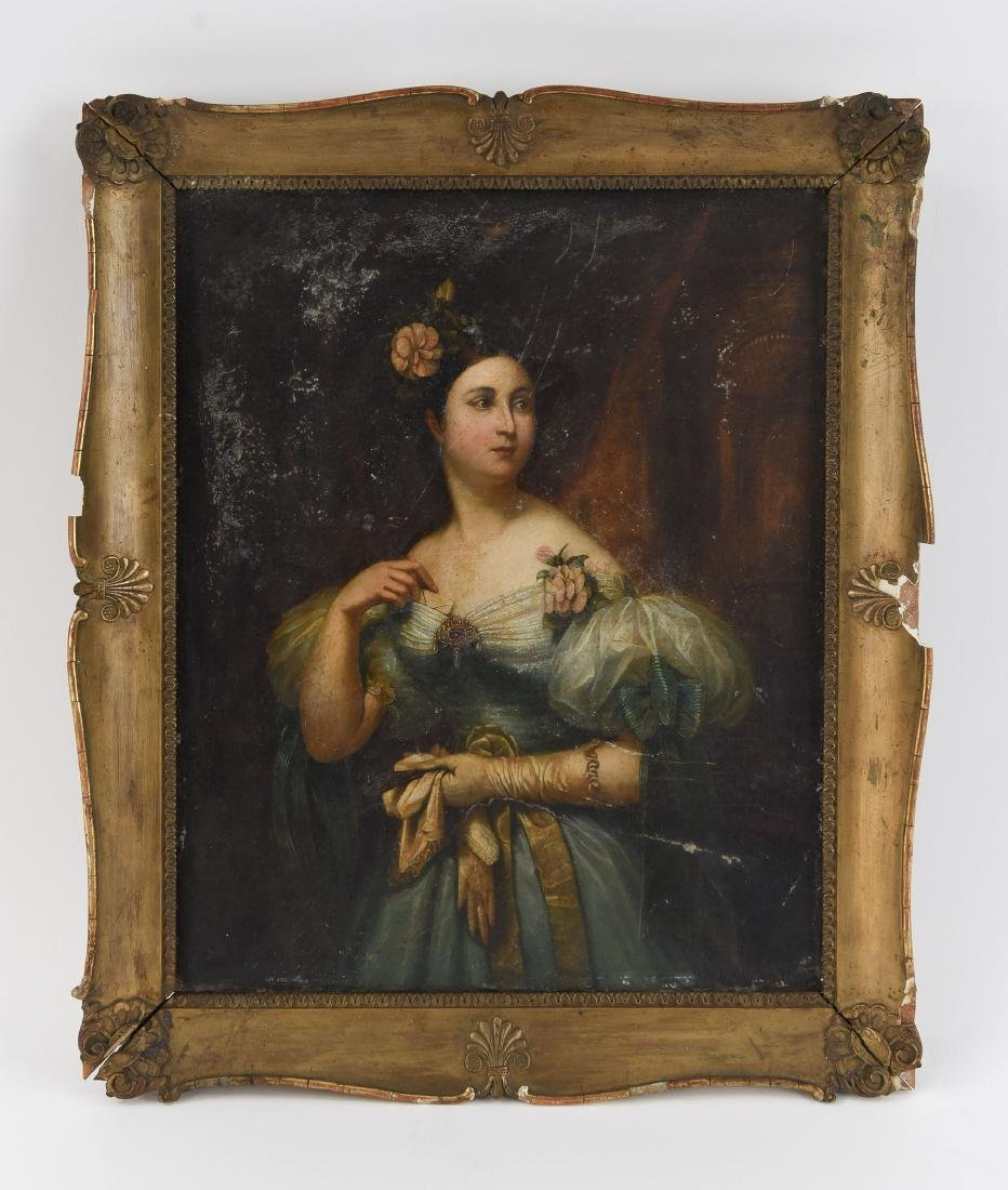 19TH C. CONTINENTAL FEMALE PORTRAIT O/C PAINTING