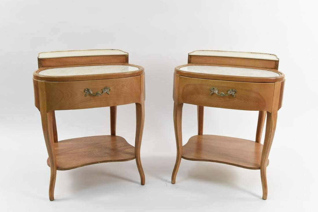 PAIR OF CASARAGI WOOD AND MARBLE END TABLES
