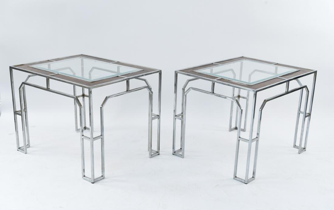 MANNER OF MILO BAUGHMAN CHROME & BURL SIDE TABLES